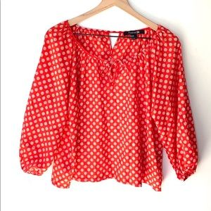 Forever 21 long sleeve Polka dot print top, size M